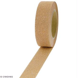 Masking tape Glitter - Beige champagne - Résistant - 1,5 cm x 10 m