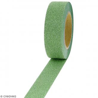 Masking tape Glitter Vert - Résistant - 1,5 cm x 10 m