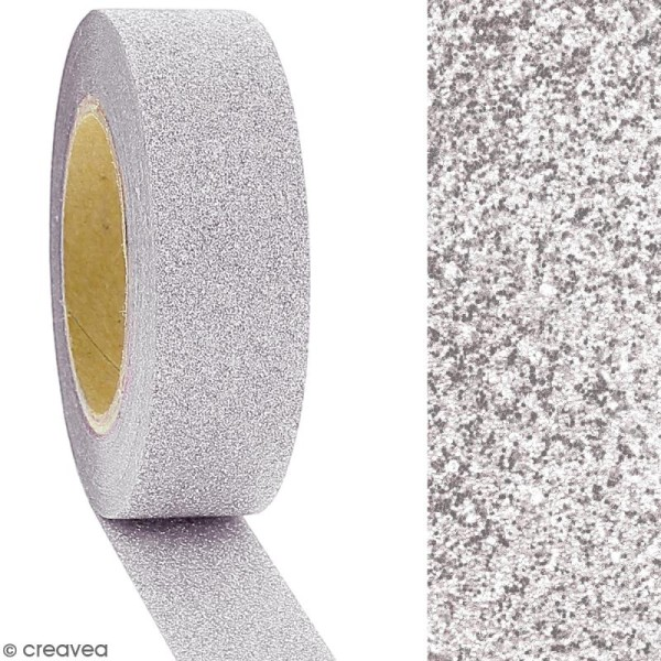 Masking tape Glitter Gris clair - Résistant - 1,5 cm x 10 m - Photo n°2
