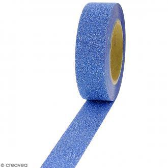 Masking tape Glitter Bleu - Résistant - 1,5 cm x 10 m
