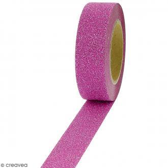 Masking tape Glitter Rose foncé - Résistant - 1,5 cm x 10 m