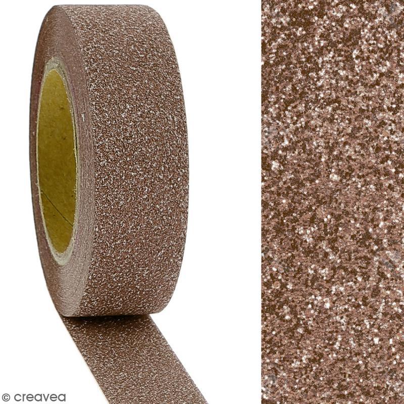Masking tape Glitter Marron - Résistant - 1,5 cm x 10 m - Photo n°2