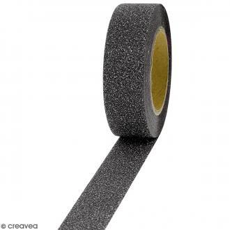 Masking tape Glitter Gris foncé - Résistant - 1,5 cm x 10 m