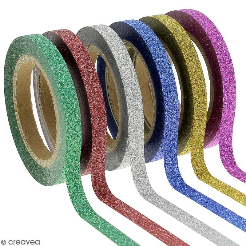 Assortiment Masking tape Glitter Slim - Couleurs vives - 0,5 cm x 10 m - 6 pcs - Photo n°1