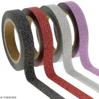 Assortiment Masking tape Glitter Slim - Gris violet rouge et noir - 0,8 cm x 10 m - 4 pcs