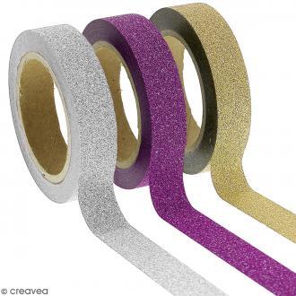 Assortiment Masking tape Glitter Gris jaune violet - 1 cm x 10 m - 3 pcs