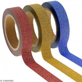 Assortiment Masking tape Glitter Jaune bleu rouge - 1 cm x 10 m - 3 pcs