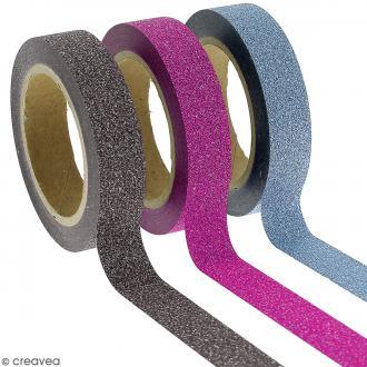 Assortiment Masking tape Glitter Noir bleu Rose fuchsia - 1 cm x 10 m - 3 pcs