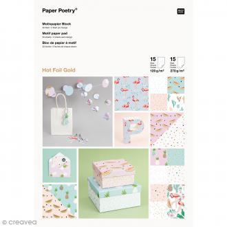 Bloc papier scrap à motif - Tropical Spring - A4 - 30 pcs