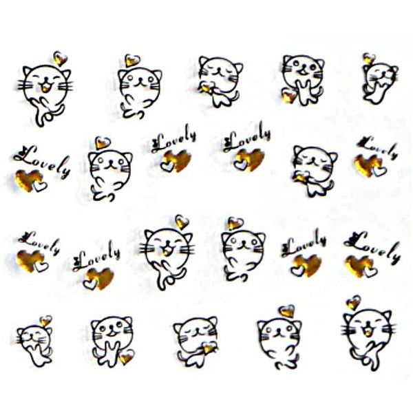 1 Feuille d'Or Noir Beau Chat Chaton 3d Nail Art autocollant Autocollants Stickers Appliques Set de - Photo n°1