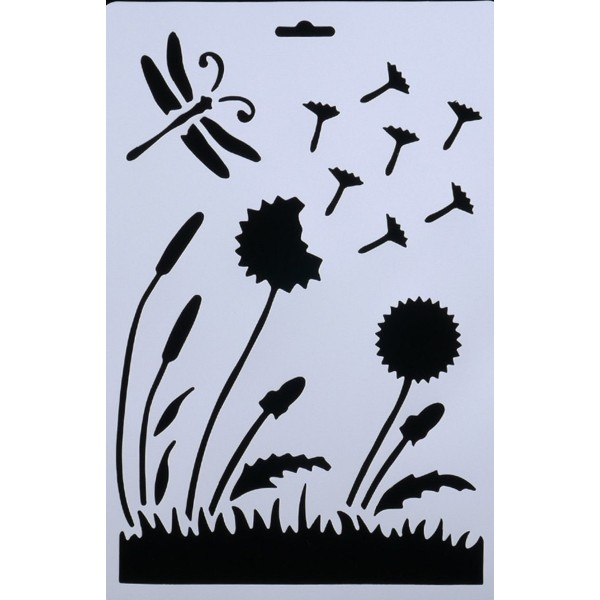 POCHOIR PLASTIQUE 26*17cm : libellule, feurs - Photo n°1