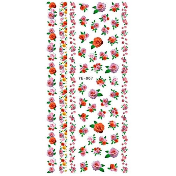 1 Feuille de Roses Rouges Fleurs 3d Nail Art autocollant Autocollants Stickers Appliques Set de BRIC - Photo n°1
