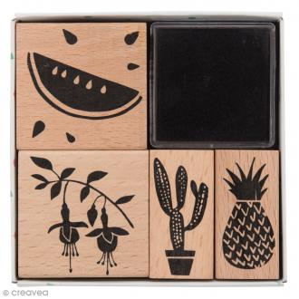 Set tampons Tropical Spring - Melon - 5 tampons et 1 encreur