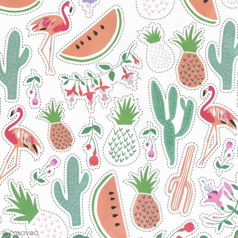 Papier Paper patch Tropical Spring - Ananas cactus et pastèques - 30 x 40 cm - Photo n°2