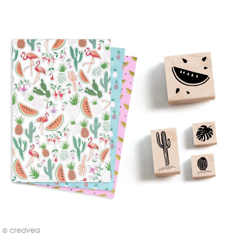 Papier Paper patch Tropical Spring - Ananas cactus et pastèques - 30 x 40 cm - Photo n°6