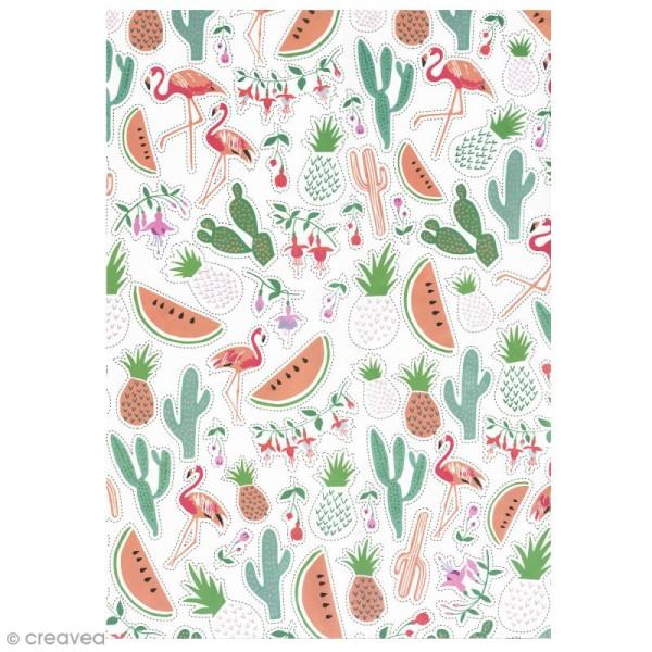 Papier Paper patch Tropical Spring - Ananas cactus et pastèques - 30 x 40 cm - Photo n°1