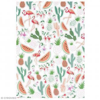Papier Paper patch Tropical Spring - Ananas cactus et pastèques - 30 x 40 cm
