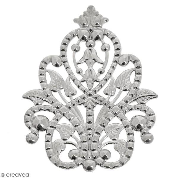 Estampe métal grise Arabesque - 4,8 x 2,5 cm - Photo n°1
