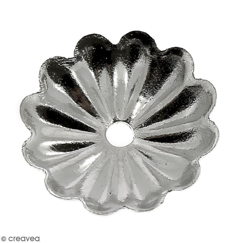 Coupelle forme fleur pour perles - Métal argenté - 10 mm - Photo n°2