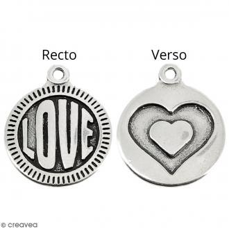 Breloque en Métal - Médaille Love de 15 mm de diamètre