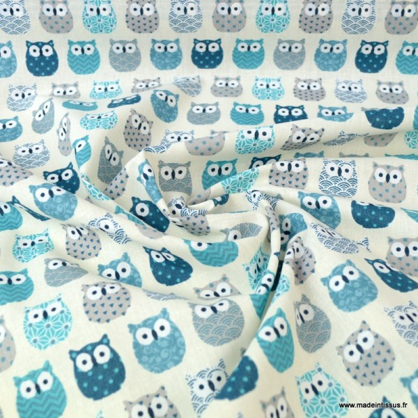 Tissu coton imprimé petits hiboux Bleu canard - Photo n°2