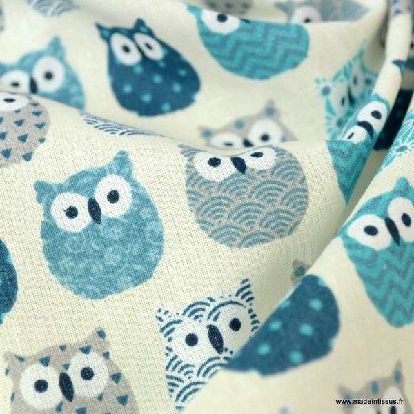 Tissu coton imprimé petits hiboux Bleu canard - Photo n°3