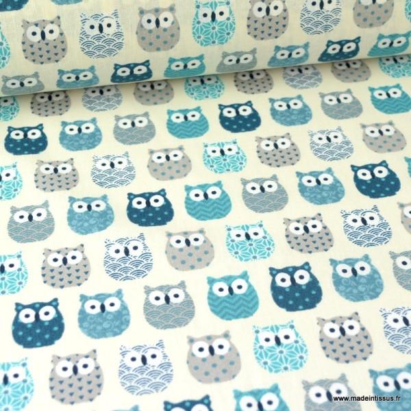 Tissu coton imprimé petits hiboux Bleu canard - Photo n°1