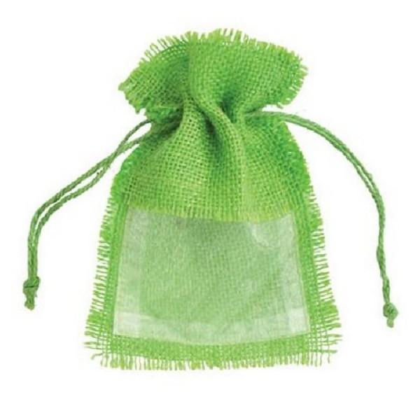 Sachet jute vert anis avec fenêtre organdi. lot de 10 - Photo n°1