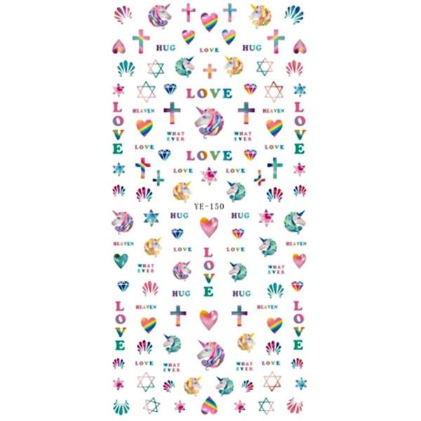 1 Feuille de l'Amour de la Licorne Cœur Cheval Magique des Étoiles 3d Nail Art autocollant Autocolla - Photo n°1
