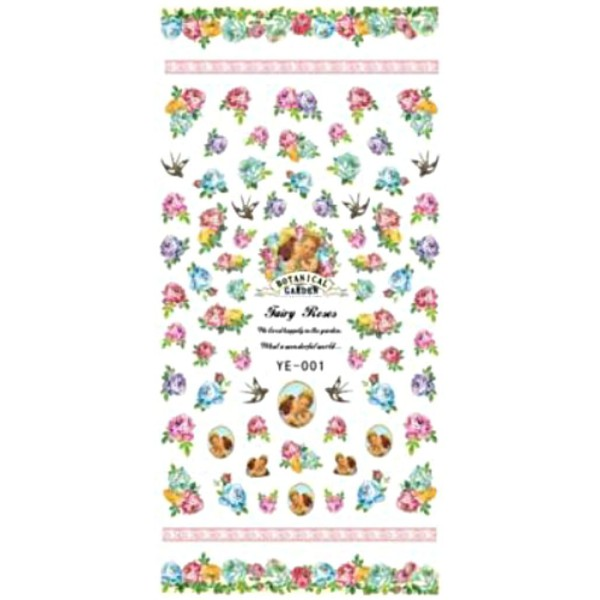 1 Fiche Botanique Vintage Jardins de Fées Roses 3d Nail Art autocollant Autocollants Stickers Appliq - Photo n°1