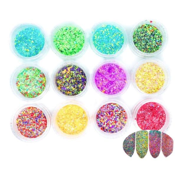 12 Couleurs de Mélange de Forme Irrégulière, des Confettis Nail Art Paillettes Holographiques Chunky - Photo n°1