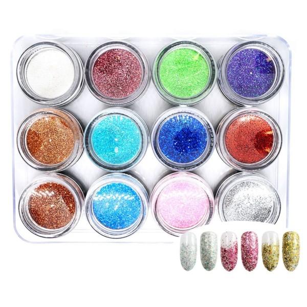 12 Couleurs de Mélange de Micro-Points, Nail Art Glitter Powder Chunky Kit de Cheveux, Manucure Maqu - Photo n°1