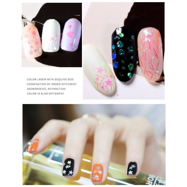 6 Couleurs de Crystal Aurora Mix Nail Art Paillettes Holographiques Chunky Kit de Cheveux, Manucure - Photo n°3