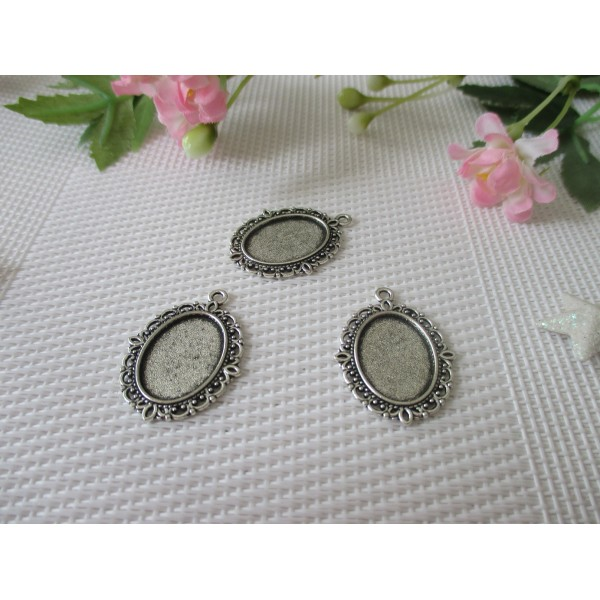 Supports ovales pour cabochon 18 x 13 mm  argent mat x 2 - Photo n°1