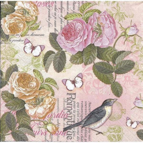 4 Serviettes en papier Fleurs Roses Romantique Format Lunch Decoupage Decopatch 75233 Nouveau - Photo n°2