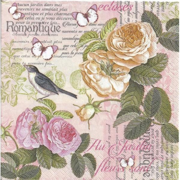 4 Serviettes en papier Fleurs Roses Romantique Format Lunch Decoupage Decopatch 75233 Nouveau - Photo n°1