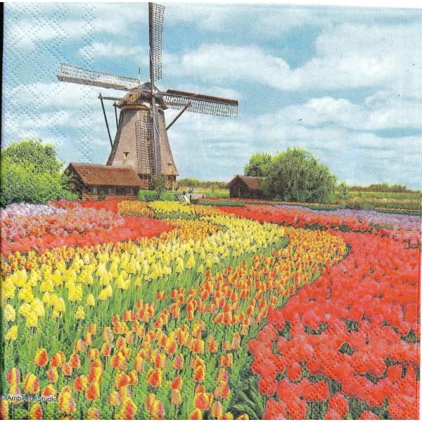 4 Serviettes en papier Moulin Champ de Tulipes Format Lunch Decoupage Decopatch 13311185 Ambiente - Photo n°2