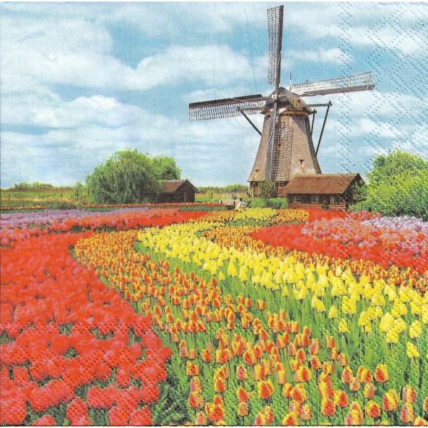 4 Serviettes en papier Moulin Champ de Tulipes Format Lunch Decoupage Decopatch 13311185 Ambiente - Photo n°1