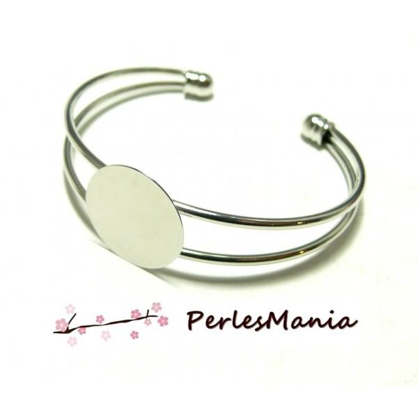 BN1122974 PAX 1 support de bracelet 20mm PLATEAU LISSE Laiton couleur Argent Platine - Photo n°1