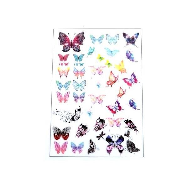 PS110105884 PAX de 1 Planche imprimées Papillons pour bijoux résine - Photo n°1