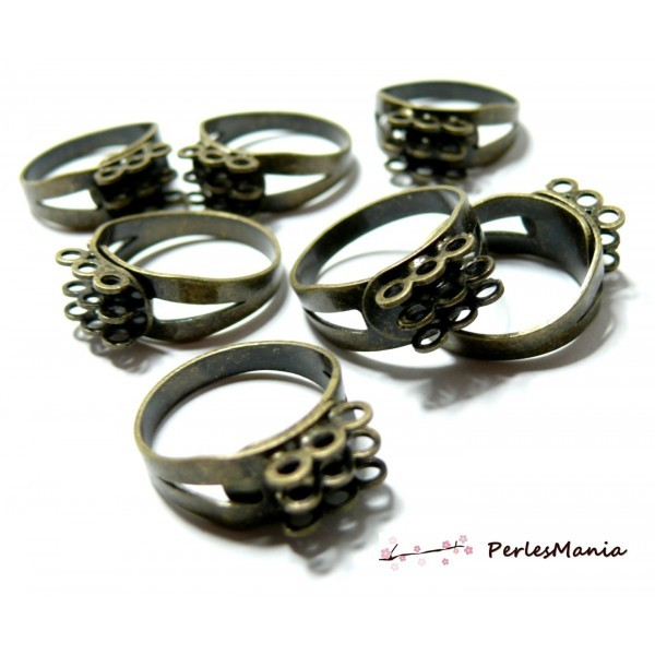 BN1123208 PAX 10 bagues multi anneaux triple rangs Laiton Couleur BRONZE - Photo n°1