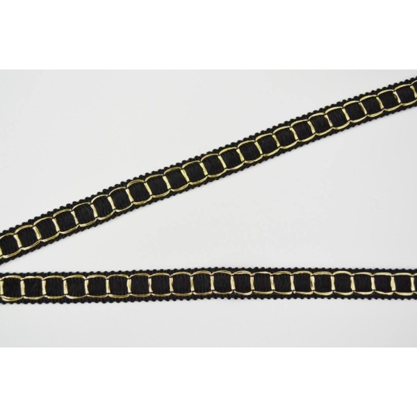 Galon damier noir et lurex doré 15mm - Photo n°1