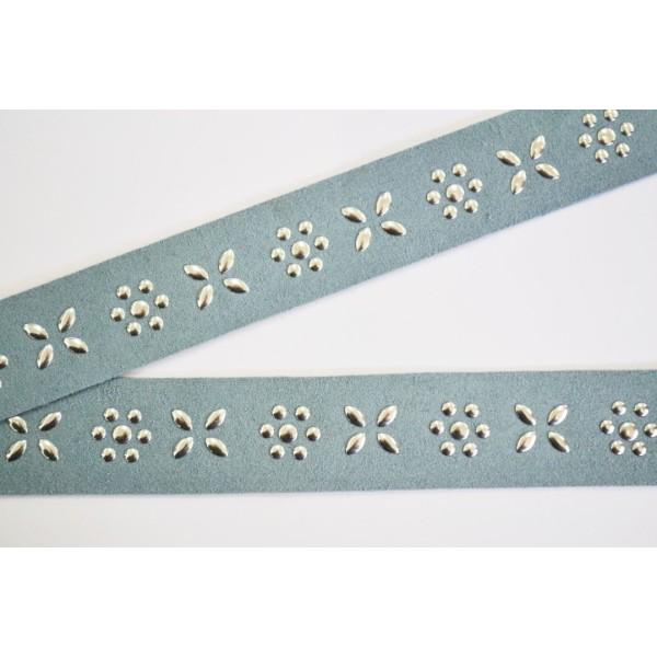 Galon simili daim en bande de 85cm, bleu pastel motif argent 25mm - Photo n°1