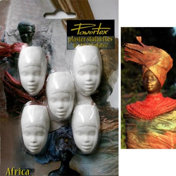 Tête Africaine en plâtre x 5 - Photo n°1