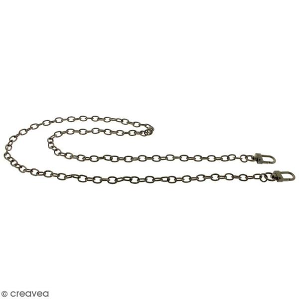 Anse Simone pour sac à main - Chaine grise argentée antique - 7 mm x 88 cm - Photo n°5
