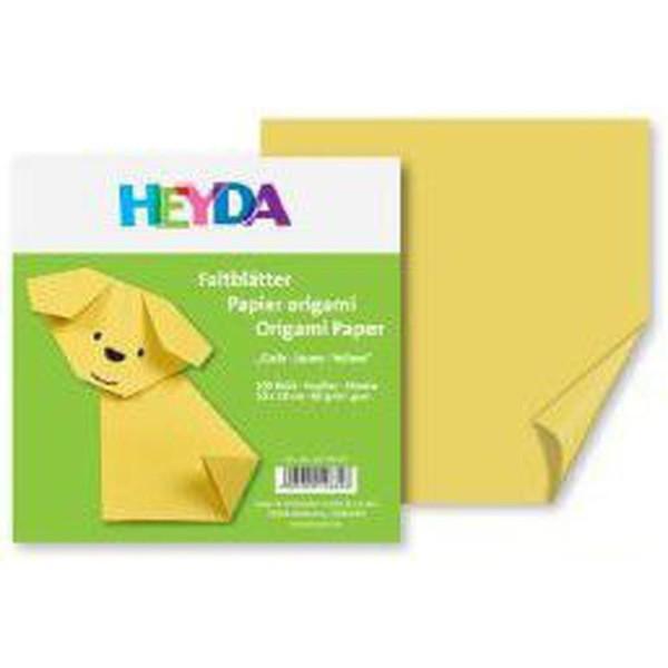 100 Pcs Origami 15x15 60g de Papier Jaune + Pendaison Décorations, des Fournitures d'Art, Heyda - Photo n°1