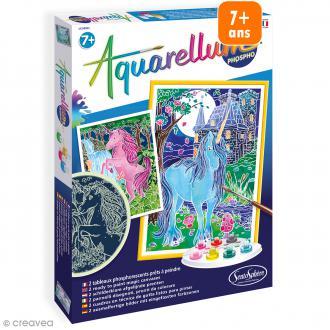 Jeu créatif Aquarellum - Licornes phosphorescentes