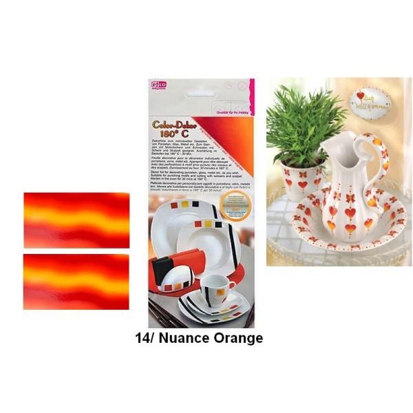 Color Dekor, 2 Feuilles décalcomanie Dégradé, 10 x 20 cm, pour décoration de porcelaine, verre, méta - Photo n°1
