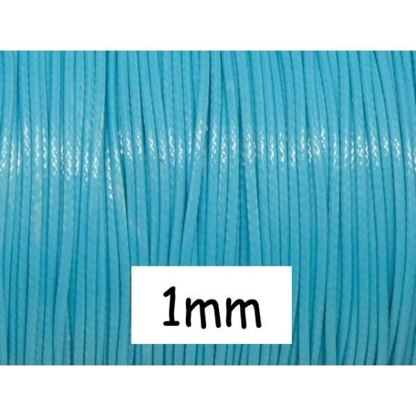 5m De Cordon Polyester Enduit 1mm Souple Bleu Ciel, Bleu Layette - Photo n°1