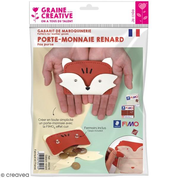 Gabarit pour Fimo effet Cuir - Porte-monnaie renard - 4 pcs - Photo n°1